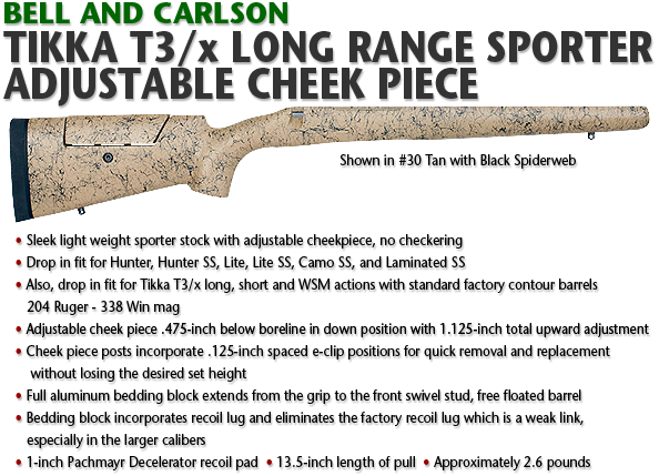 Tikka T3/x Long Range Sporter, Adjustable Cheek Piece