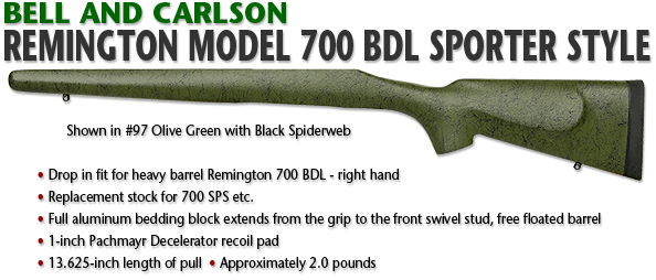 Bell and Carlson Remington 700 BDL, Heavy Barrel, Sporter Style, Long Action