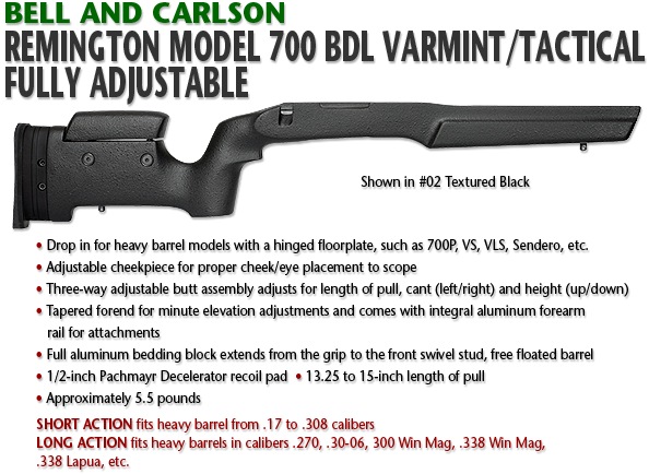 Bell and Carlson Remington 700 BDL, Varmint/Tactical Style, Fully Adjustable