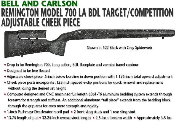 Bell and Carlson Remington 700 LA BDL, Target/Competition, Adjustable Cheekpiece