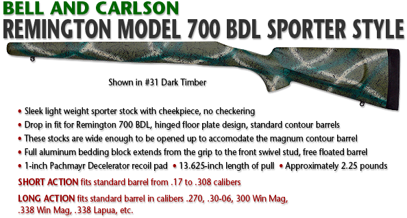 Bell and Carlson Remington 700 BDL, Sporter Style with Checkering