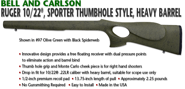 Ruger 10/22, Sporter Thumbhole Style, Heavy Barrel